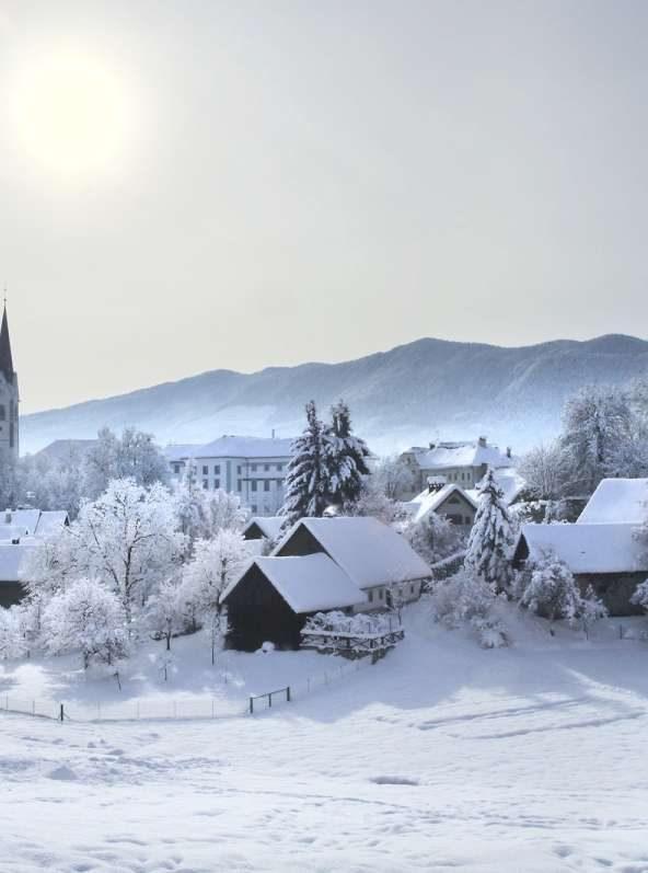 Radovljica in winter, Slovenia