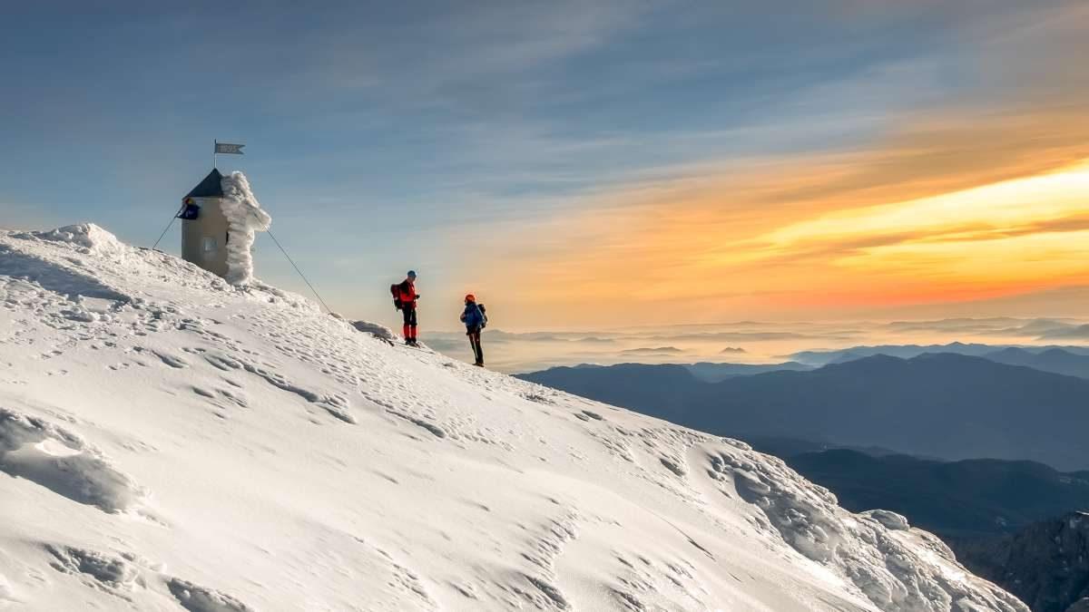 Winter hiking in the Alps, Slovenia