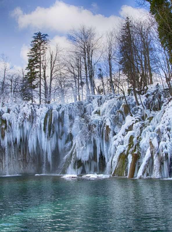 Plitvice lakes in winter, Croatia